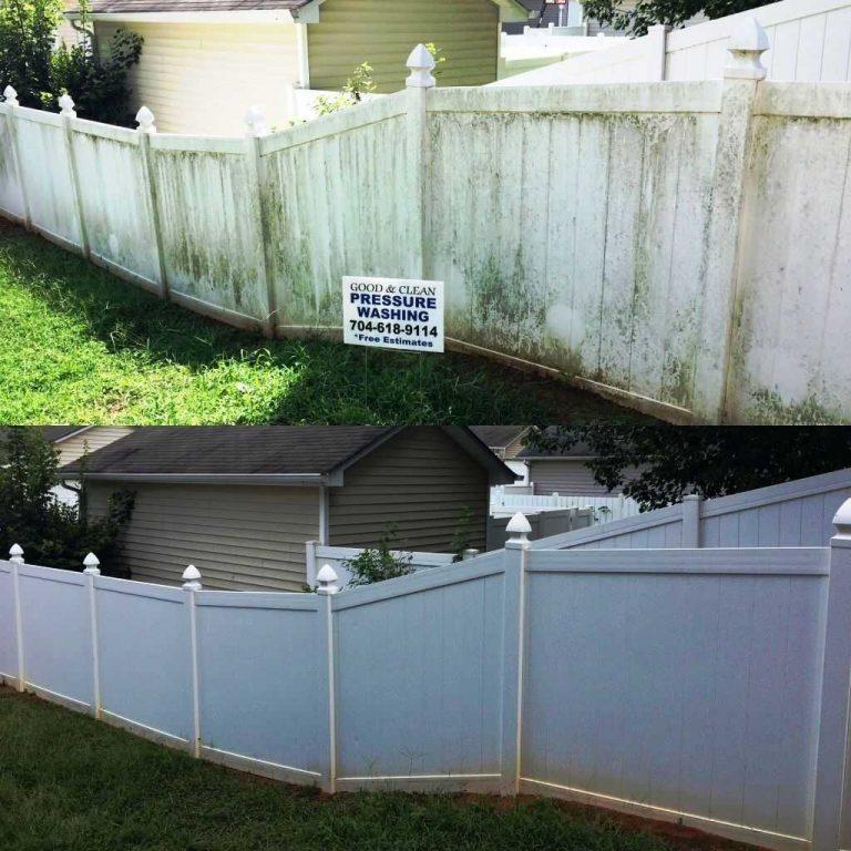 Pressure-Wash-White-Vinyl-Fence
